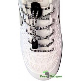 Elastische Schnürsenkel mit Schnellverschluss in Schwarz & Weiß
