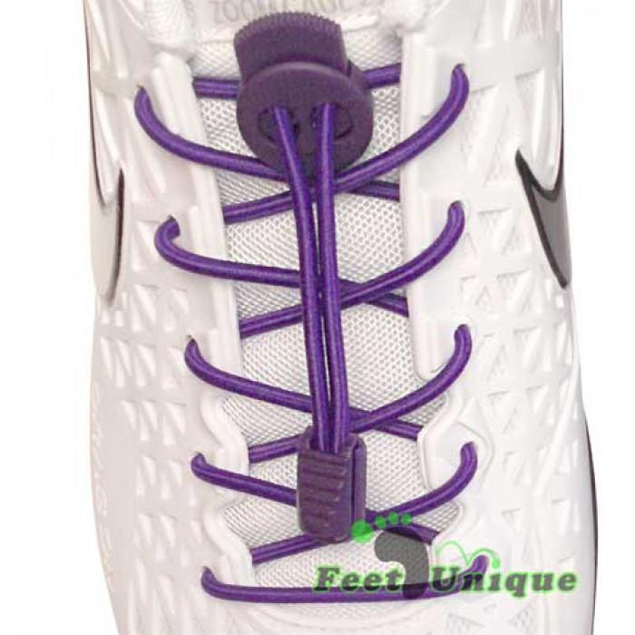 Elastische, violette Schnürsenkel mit Verschluss