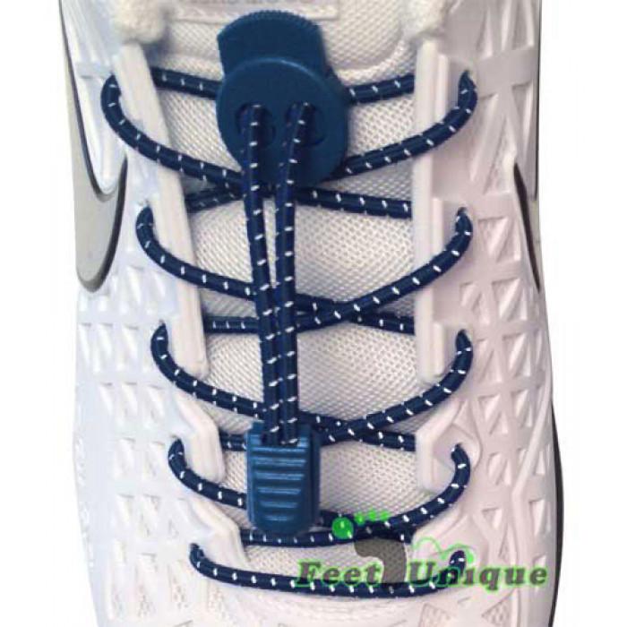 Marineblaue Schnürsenkel gestreift mit Schnellverschluss