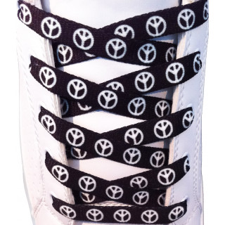 Schwarze Schnürsenkel mit Peace-Symbol