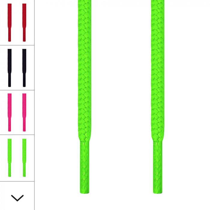 Runde, neon-grüne Schnürsenkel