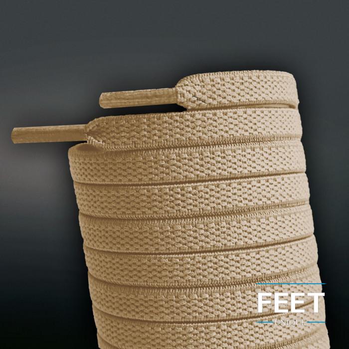 Elastische, flache Schnürsenkel, hellbraun (No-Tie)