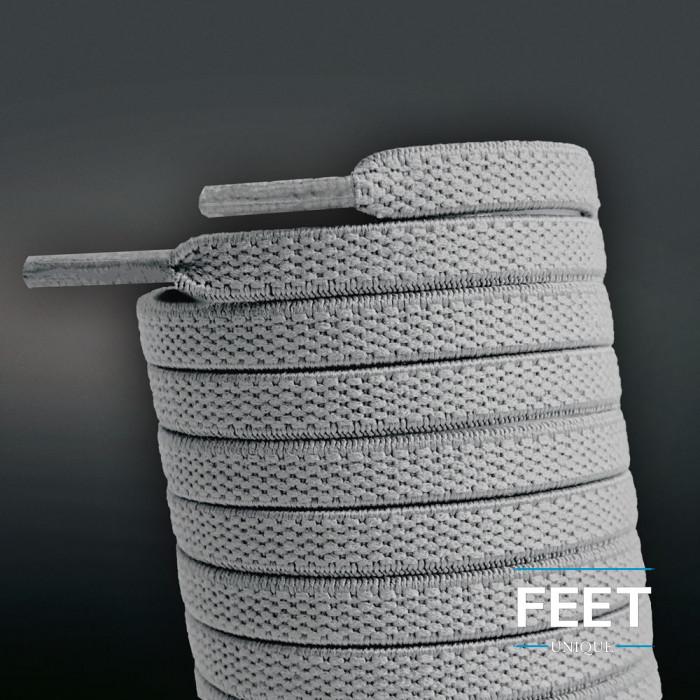Elastische, flache Schnürsenkel, hellgrau (No-Tie)