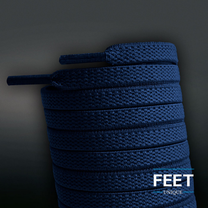Elastische, flache Schnürsenkel, dunkelblau (No-Tie)