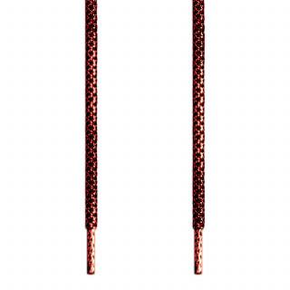 Runde Schnürsenkel, metallic-rot auf schwarz
